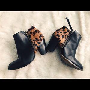 Aldo Leopard fur + leather booties